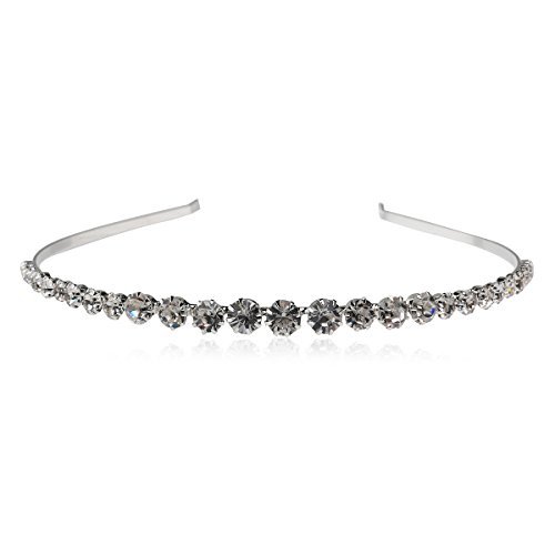 PIXNOR Cristal Diadema Tiara Joyas Accesorios para el Pelo (Plata)
