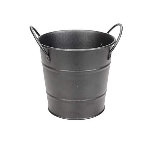 Mini Mit eimern, Eisen Metalll Eisbehälter, Pommes Frites Tin Eimer, Party Lieferungen Eiseimer, Vielseitigkeit Tragbar Metalll-schwarz 9x11cm (Mini Tin Eimer)