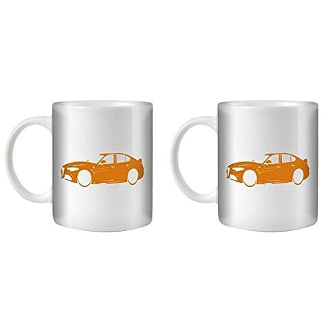 STUFF4 Tea/Coffee Mug/Cup 350ml/2 Pack Orange/Alfa Romeo Giulia/White Ceramic/ST10