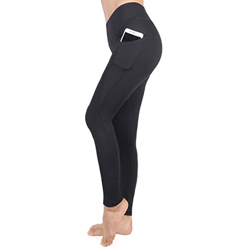 Power Stretch Tights (YOUCHAN Leggings Damen Lang Sporthose Laufhose Tights mit Taschen Hohe Taille Blickdichte für Sport Yoga-SCHWARZ-S)