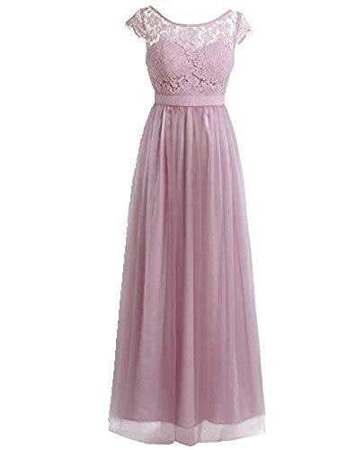 iiniim Damen Cocktailkleid Partykleid Sommerkleid Spitzenkleid Tüll Brautjungfer Hochzeitskleid Faltenrock Langes Abendkleid Festlich Kleid Dusty Rose 46(Herstellergröße: 16) -