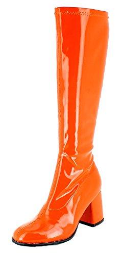 Gogo Damen Retro Lackstiefel - Orange Gr. 35 - Tolle Schuhe zur 70er 80er Jahre Disco Hippie Mottoparty