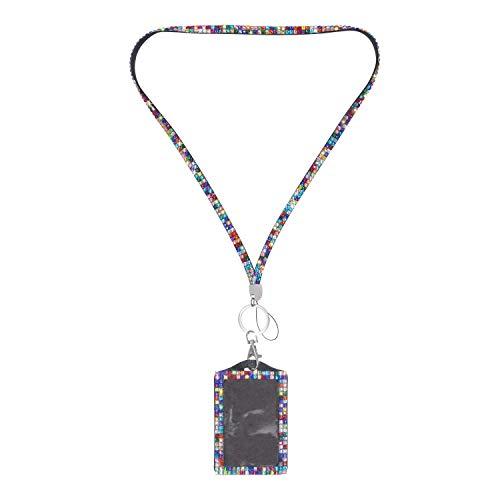 Soleebee Trageband 80cm Bling Premium Kristall Leder Schlüsselband Lanyard ID Badge Holder mit ID-Kartenhalter Schlüsselring Schlüsselanhänger (Bunt) - Silber Charms Elemente