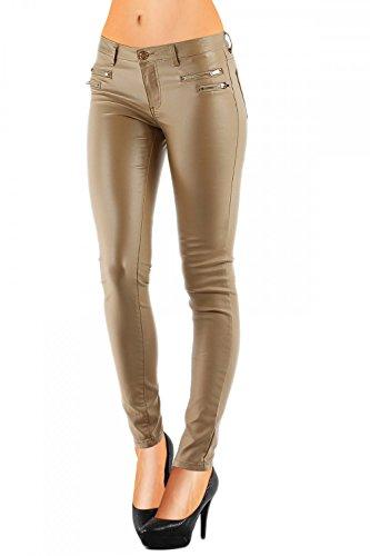 Pantaloni da donna in stile Lederhose, in similpelle, aderenti (No: 323) Marrone chiaro