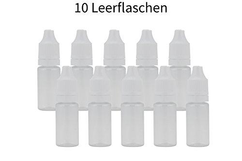10x 10ml PET Leerflasche mit dünnem Dropper / Auslass und Kindersicherung im Deckel für E-Liquid Shisha-Liquids Kosmetika uvm.