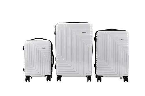 3 TLG TSA Kofferset IMEX Koffer Trolley HARTSCHALE POLYCARBONAT ABS GESCHÜTZES Design Model 3600 Silber