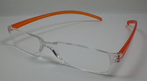 Leichte Lesebrille rahmenlos Lesehilfe für Sie & Ihn Sehhilfe Fertigbrille orange +3,0