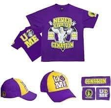 02545 wwe John Cena VIOLET moyen un tshirt, casquette de base-ball et les bracelets