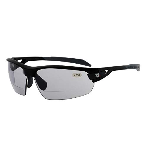 BZ Optics PHO Photochromic Bi-Focal Sunglasses +2.5 Matt Black