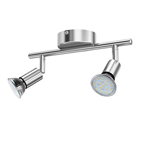 Reteck LED Deckenleuchte, 2 Flammig inkl. 2 x 3.5W GU10 LED Lampen, 380LM, Warmweiß, Schwenkbar, Nicht Dimmbar, LED Deckenlampe, LED Deckenspot, Deckenstrahler