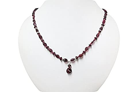 Natural Dark Pink Garnet Beaded Jewlery with 925 Silver Findings