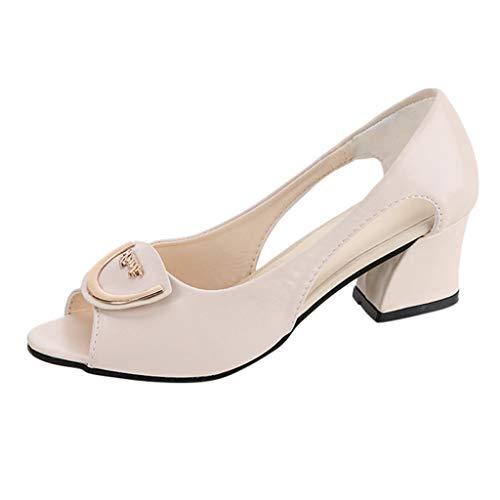 Sandali con Tacco da Donna Peep Toe Tacchi Alti Donna Elegante Scarpe col Tacco comode Scarpe da Barca Neri,Beige