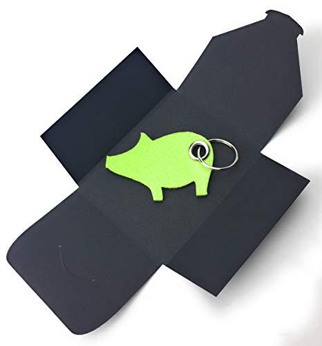 Schlüsselanhänger aus Filz - Schwein/Glücksschwein - lind-grün/hell-grün - als besonderes Geschenk mit Öse und Schlüsselring - Made-in-Germany (Machen Maden Kostüm)