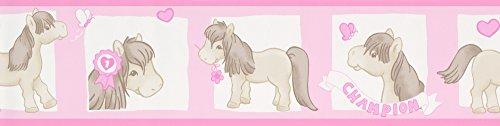 A.S. Creation 892720 Boys und Girls 4 Bordüre mit Pferden, beige / rosa / rot