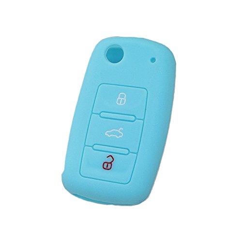 Nicky turchese cover protettiva in silicone per chiave pieghevole vw seat skoda golf con 3 tasti copertura del telecomando automatico brilla nel buio