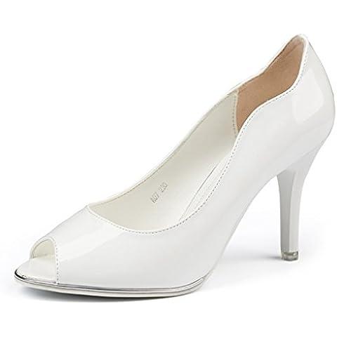 Damen Bride Pumps Bequeme Tägliche High Heels Anti-Rutsch Gummi Sexy Stiletto Hochzeit Extreme High Moderne Peep Toe Arbeitsschuhe