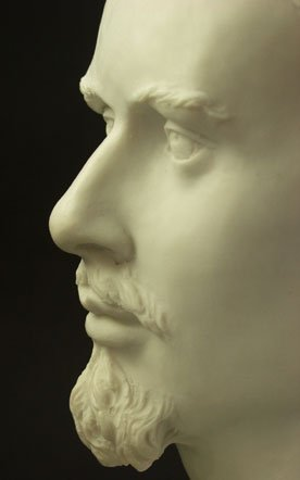 König Ludwig II Bayern Büste ausdrucksstark aus Alabaster Marmor -