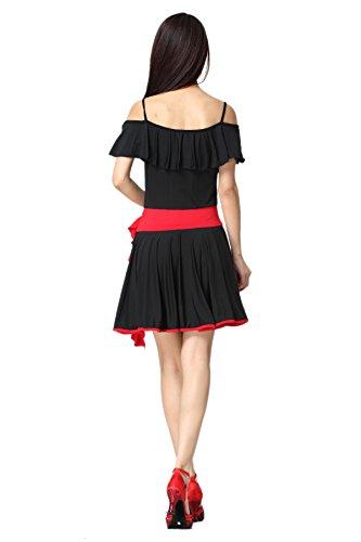 FaithYoo Damen Schößchen Kleid Mehrfarbig - Schwarz / Rot