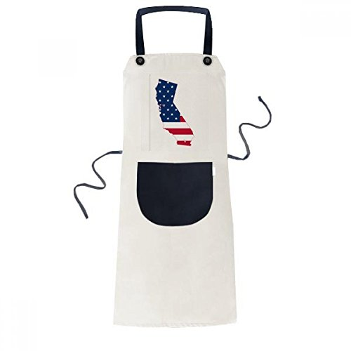 beatChong Kalifornien USA Karte Stars and Stripes-Flagge Form Kochen Küche Beige Adjustable Latzschürze Taschen Frauen Männer Chef-Geschenk (Flagge Kalifornien Iphone Fall)