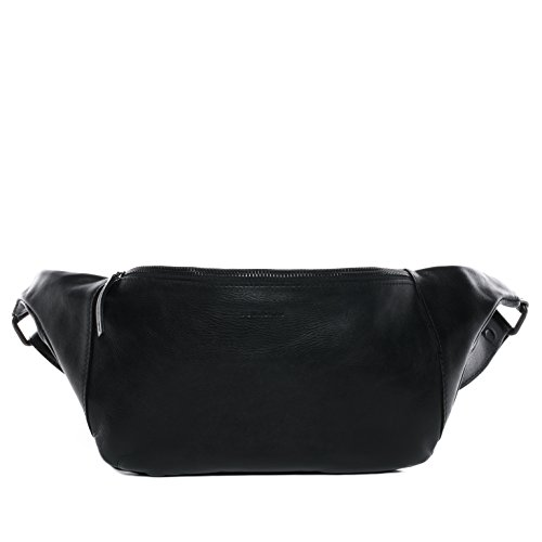 FEYNSINN Hüfttasche MILLA - Unisex Gürteltasche groß Ledertasche - Bauchtasche aus Leder Damen Herren echt Leder schwarz