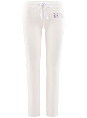 oodji Ultra Damen Jersey-Hose mit Bindebändern Elfenbein (1200N)