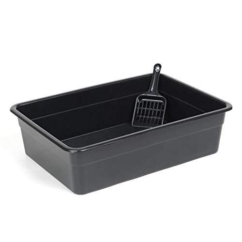Jlxl Schwarze Katzentoilette Haustier-WC-Behälter Container Pan Puppy Kitty Trainingssystem Einfache Reinigung mit Schaufel Pan-container