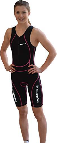 More Mile Damen Sonic gepolsterter Triathlon 3-Anzug Gr. X-Small, schwarz / pink