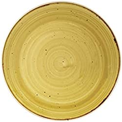 Churchill Stonecast platos redondos de Coupe Mustard Seed amarillo 220 mm