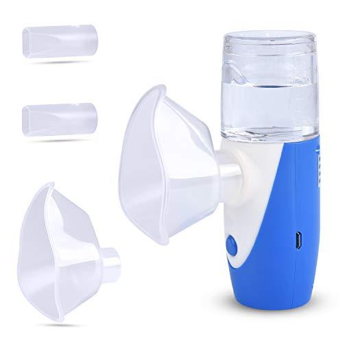 Tragbarer Inhalator Vernebler Persönlicher Dampf-Inhalator Kit mit 2 Mundstücken und 2 Masken für Kinder und Erwachsene Atemwegserkrankungen, Erkältung und Husten, Nebenhöhlenentlastung (Blau)