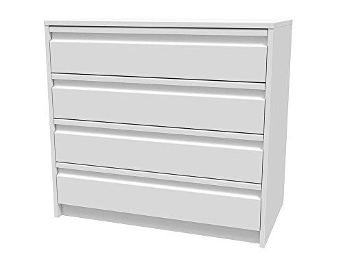 Meka-Block K-7404B - Cajonera en kit, 4 cajones con uñero, 80 cm de ancho, color blanco