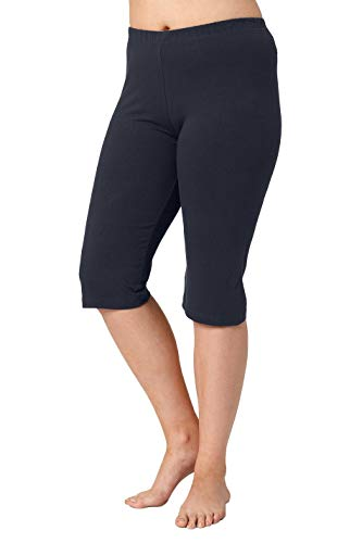 Ulla Popken Damen große Größen Damen große Größen bis 68, Leggings, Capri-Hose, einfarbig, pflegeleicht und bequem, 3/4-Länge Marine 54/56 567565 71-54+