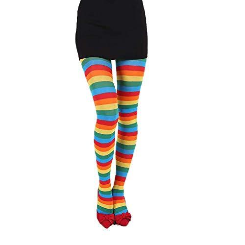 Rainbow Damen Kostüm - Monbedos Halloween-Weihnachtsstrümpfe, Regenbogenfarben, Cosplay, Lange Strümpfe, für Damen, Kniestrümpfe, gestreift, Stretch, Kostüm-Zubehör Rainbow Stripe