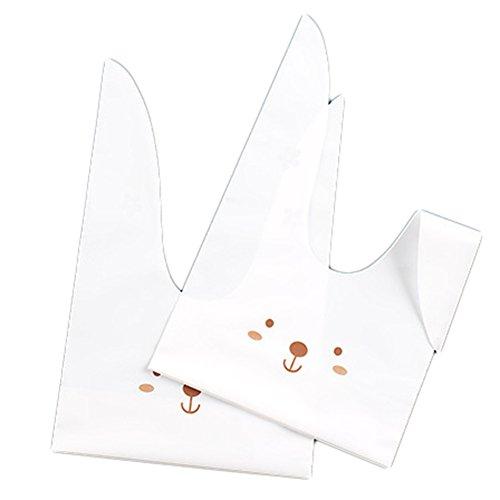 kleine Ostern Geschenktüten Süßigkeitstaschen Kaninchen Ohr Geschenk Taschen mit süßen Häschen Ohr Plastik Cookie Tüte für Weihnachten Party 50 Stück (D)