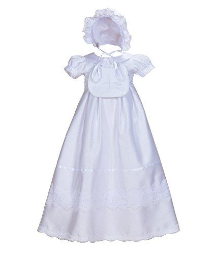 Cinda Baby-Mädchen Satin Taufkleid mit Latz und Motorhaube Weiß 74-80 -