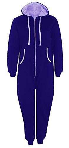 wachsene Zip Up Onsie1 Mit Kapuze Overall Unisex Thermischer All In One Sport Jumpsuit Royal Blue Medium ()