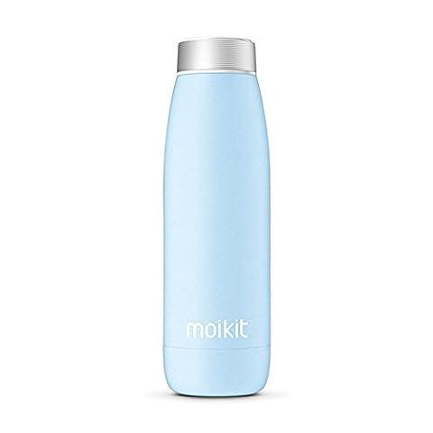 Bouteille d'eau intelligente avec affichage de température en acier inoxydable isolé sous vide double-mur high-tech travel sports tasse à café tasse intelligente 12 oz (Bleu)