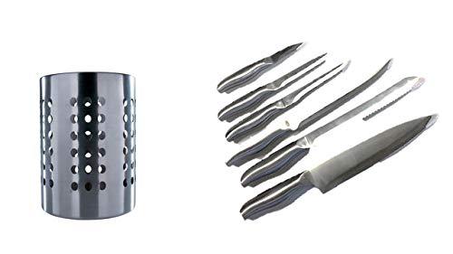 I IKEA Ordning - Besteck Ständer, Edelstahl + Edelstahlmesser Schälmesser + Gemüsemesser + Ausbeinmesser + Tranchiermesser+Brotmesser+Kochmesser