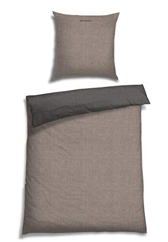Schiesser Wendebettwäsche Doubleface Silber-Anthrazit 135x200cm, 100%Baumwolle (Volle Größe-jersey-bettwäsche)
