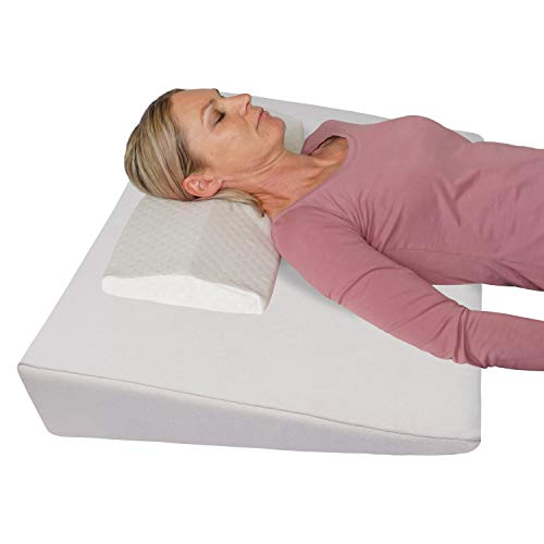 Orthopädisches Keilkissen gegen Nackenschmerzen, Kopfschmerzen, Migräne und Schlaflosigkeit +Anti-Stress-Kissen Gratis dazu! Rückenkissen, für Bett/Couch/Sofa Bettkeil; 90x60 cm; höhe 12cm (weiß)