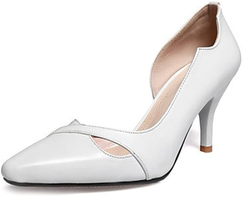 GGX/ Zapatos de mujer-Tacón Stiletto-Tacones / Punta Cuadrada-Tacones-Oficina y Trabajo / Casual-Cuero-Blanco...