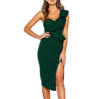ECOWISH Damen Kleid Sexy Rückenfrei Cocktailkleid Eine Schulter Partykleid Asymmetrisch Ärmellos Rüschen Schlitz Bodycon Knielang Grün XL