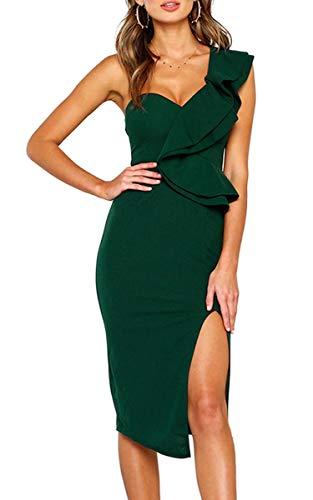 ECOWISH Damen Kleid Sexy Rückenfrei Cocktailkleid Eine Schulter Partykleid Asymmetrisch Ärmellos Rüschen Schlitz Bodycon Knielang Grün S