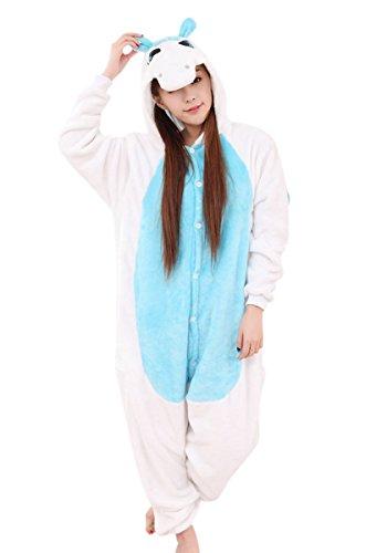 MH-RITA Großhandel Mutterschaft Pyjama Einhorn - Kleidung Cartoon Nachtwäsche Frauen Pflege Nachthemd Flanell Tier Cosplay Kostüm Schlafanzug, Blau, (Satin Roben Großhandel)