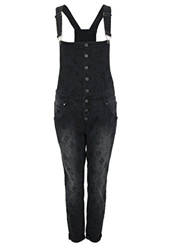Rock Angel Damen Sweat Latzhose PAULINE | Schwarzer Overall mit Blumen Print & Used Waschung black S