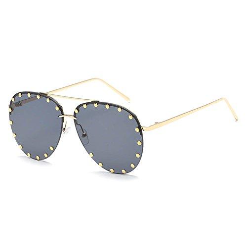 RPFU Sonnenbrille Metall HD Männer Frauen Universal Nieten Mode Brille,Gold/Fullgray