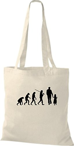 ShirtInStyle Stoffbeutel Jute Evolution Papa Mama Kind diverse Farbe natural