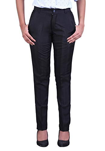 MARK LOUIIS Formal Trouser for Women, Ladies, Girls for Formal Wear, Casual Wear, Office Wear (Black) (34)