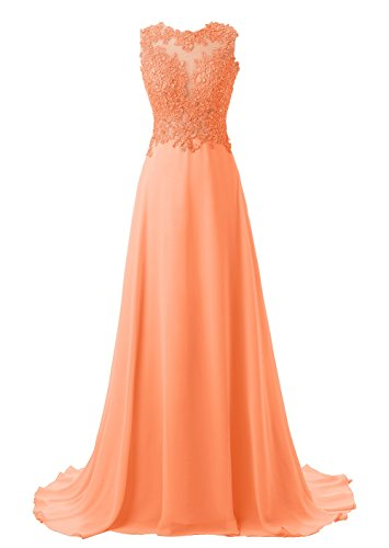 Callmelady Abendkleider Lang Spitze Elegant Ballkleider Damen Abiballkleid Cocktailkleid (Orange,...