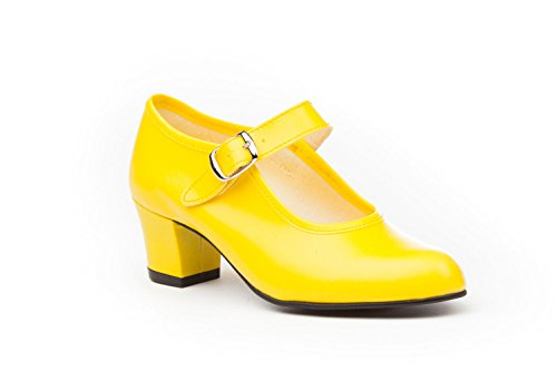 Zapatos Flamenca Para Niña y Mujer, Mod. 302, Calzado Made In Spain (26, Amarillo)