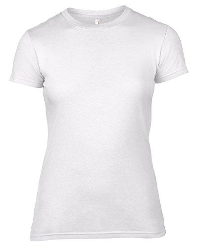 Anvil Anvil Women's Lightweight Crew Neck Junior Fit Tee - T-shirt - coupe cintrée - Manches courtes - Femme Blanc - Blanc